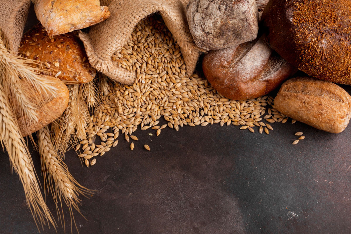 wheat products like wheat grain, bread, cereal etc